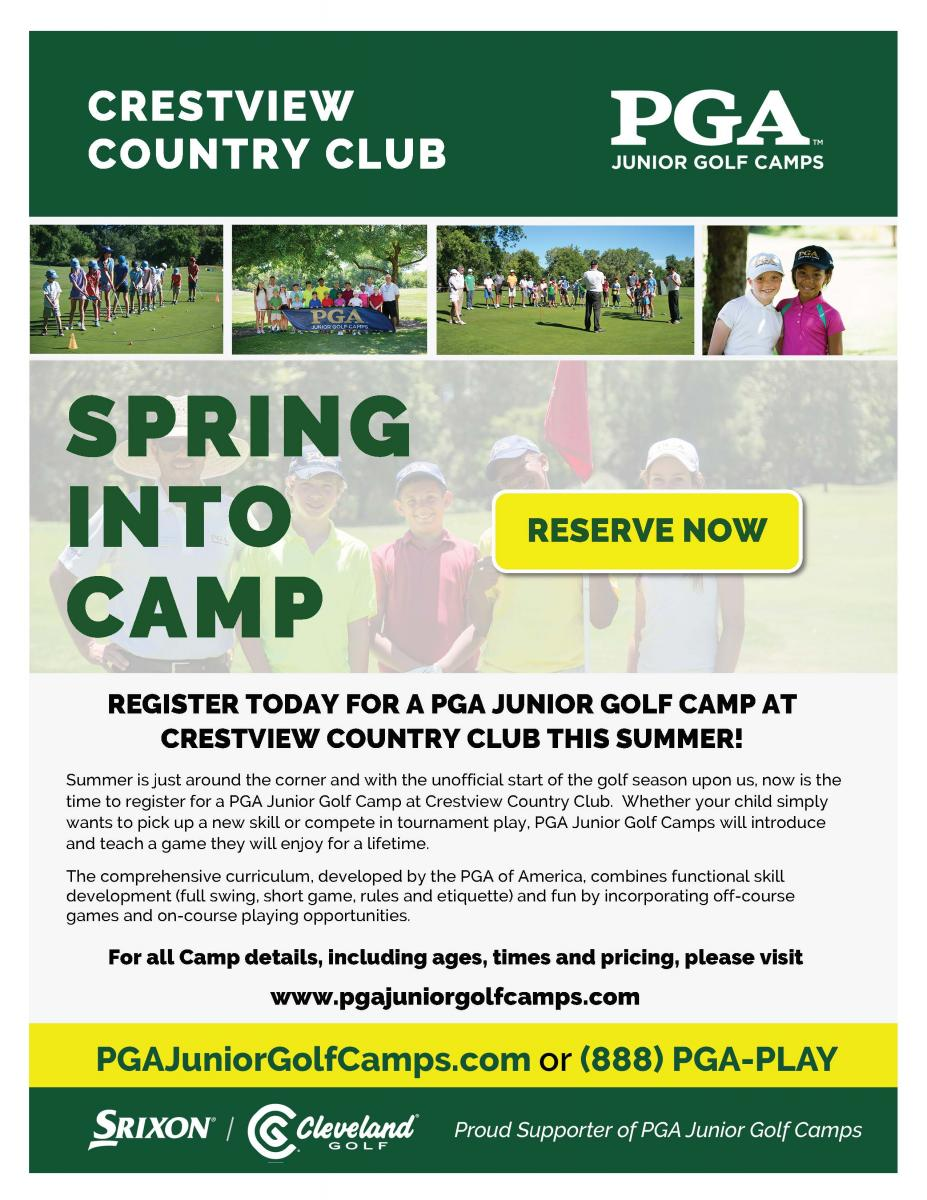 Flyer for the Crestview Junior Golf Camps